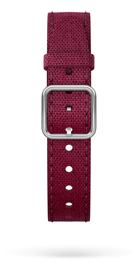 Burgundy Cotton Strap, Steel Pin Buckle 15 MM - MXE0HP2P Baume & Mercier Front -