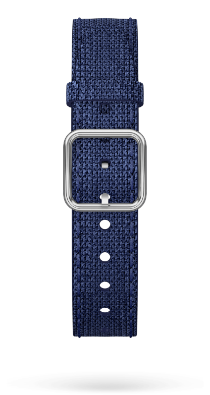 Blue Cotton Strap, Steel Pin Buckle 15 MM - MXE0HP3D Baume & Mercier Front -