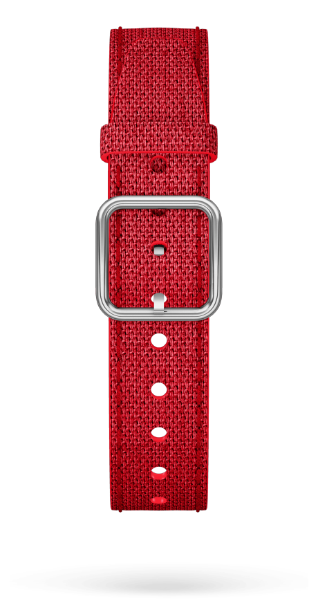 Red Cotton Strap, Steel Pin Buckle 15 MM - MXE0HP33 Baume & Mercier Front -