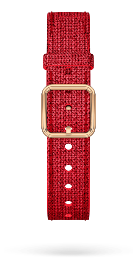 Red Cotton Strap, PVD Steel Pin Buckle 15 MM - MXE0HP36 Baume & Mercier Front -