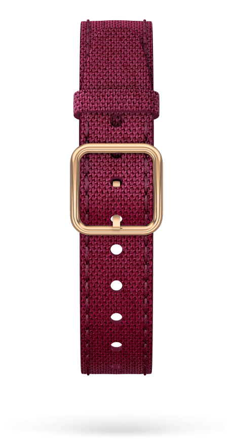 Burgundy Strap, PVD Steel Pin Buckle 15 MM - MXE0HP39 Baume & Mercier Front -