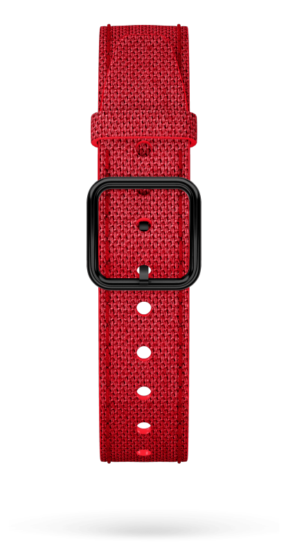 Red Cotton Strap, PVD Steel Pin Buckle 15 MM - MXE0HP45 Baume & Mercier Front -