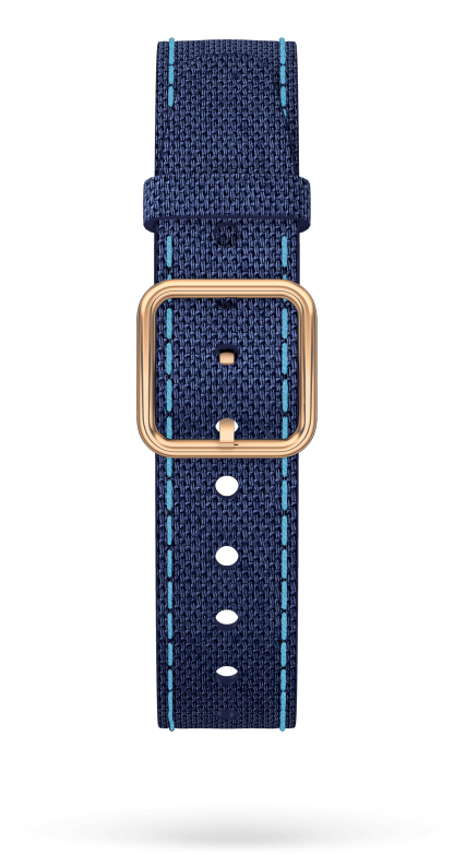 Blue Cotton Strap, PVD Steel Pin Buckle 15 MM - MXE0GBQQ Baume & Mercier Front -